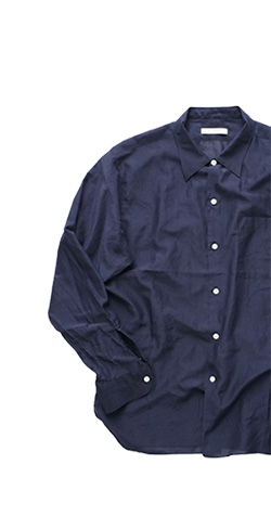 OLD JOE - SIMPLE SMALL COLLAR SHIRTS - NAVY