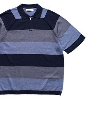 OLD JOE - MALTI STRIPE SKIPPER SHORT SLEEVE - NAVY