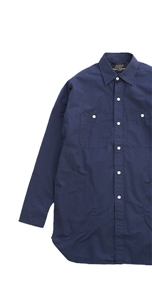 LYBRO IN COLLABORATION WITH NIGEL CABOURN ENGLAND - BIG SHIRTS POPLIN - NAVY