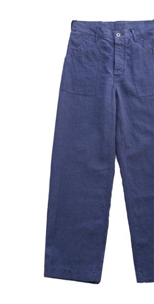 Nigel Cabourn - DECK PANT (LINEN) - BLUE