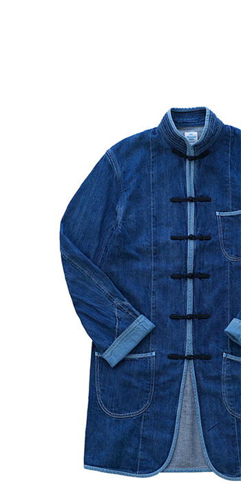 Porter Classic ★★★ - SUMMER DENIM CHINESE COAT - KANAZAWA EXCLUSIVE