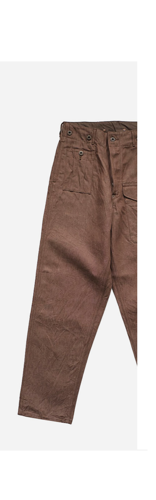 Nigel Cabourn - BATTLE DRESS PANT C/L DENIM - BROWN