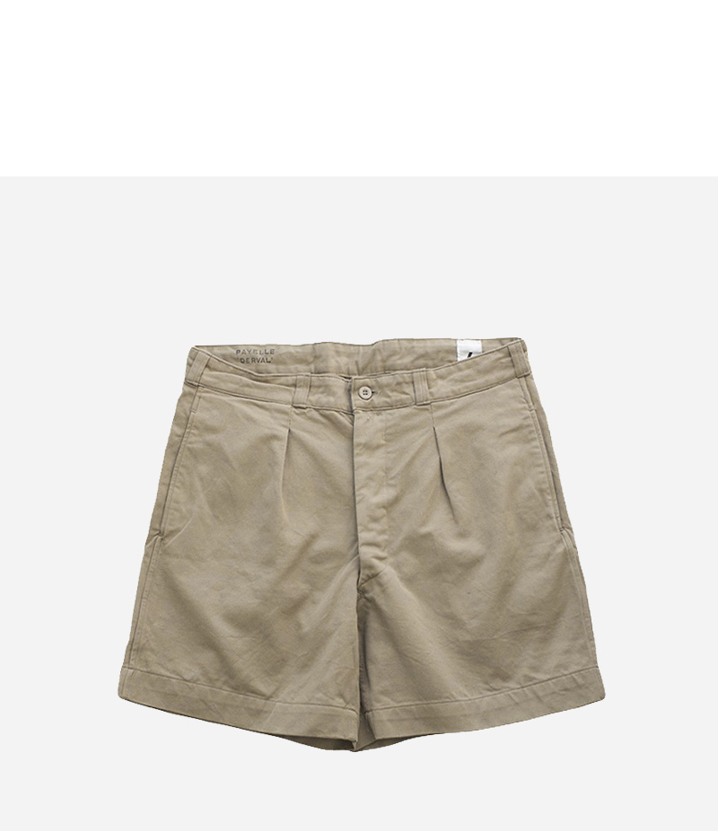 VINTAGE FRENCH MILITARY CHINO SHORTS - KHAKI