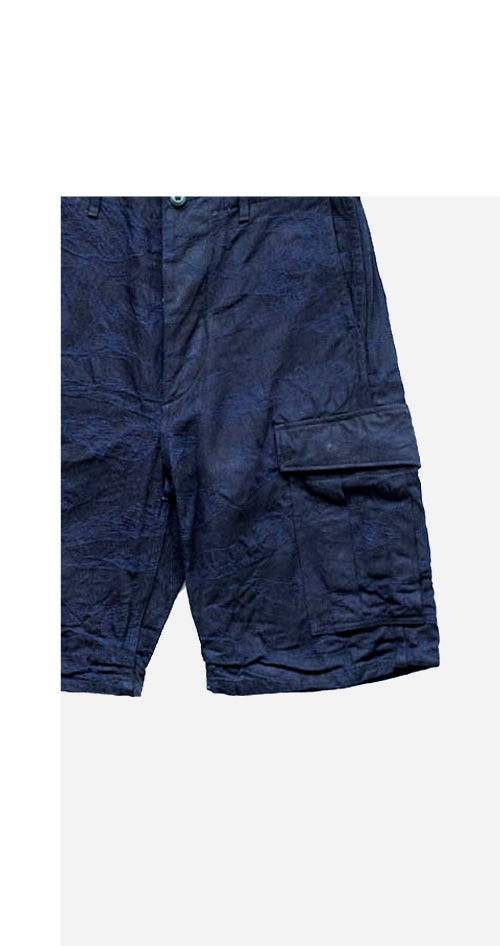 Nigel Cabourn - JUNGLE FATIGUE TROUSER 2nd TYPE SHORT TIGERSTRIPE - INDIGO