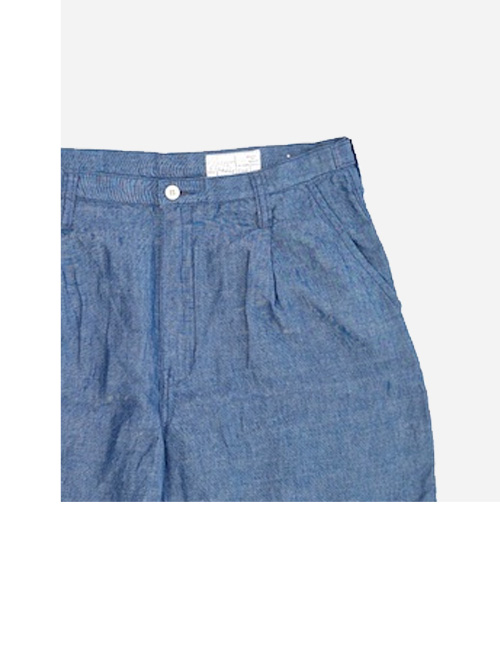 Porter Classic - HAND WORK CHAMBRAY SHORTS - BLUE