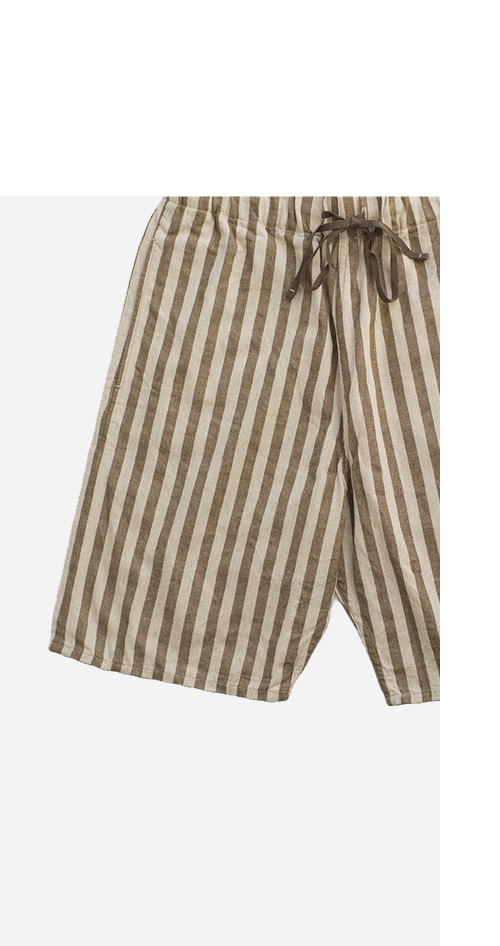 Nigel Cabourn - STRIPE SHORT - KHAKI