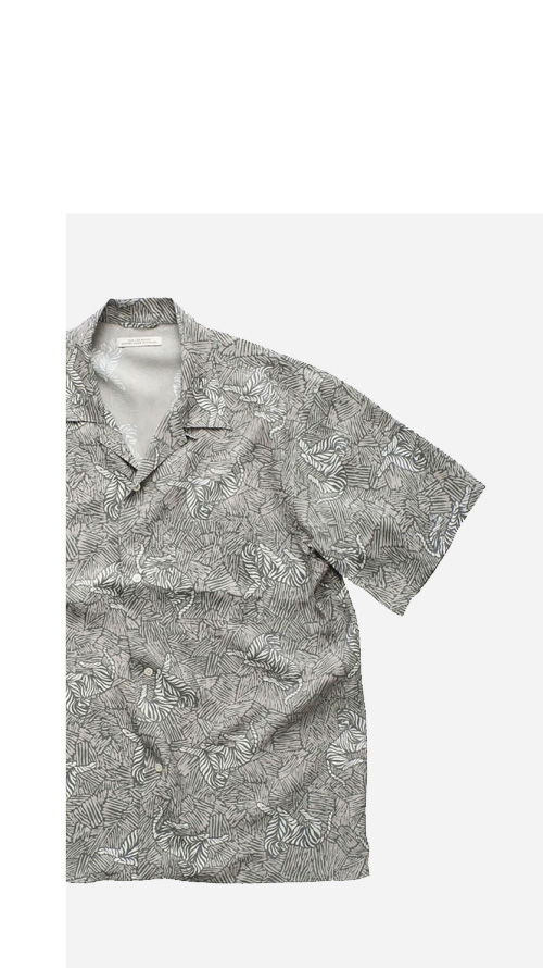 OLD JOE - ORIGINAL PRINTED OPEN COLLAR SHIRTS - ZEBRA - SHORT SLEEVE - FOG