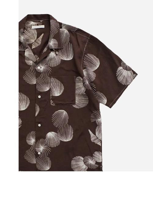 OLD JOE - ORIGINAL PRINTED OPEN COLLAR SHIRTS - SHELL - SHORT SLEEVE - COFFEE