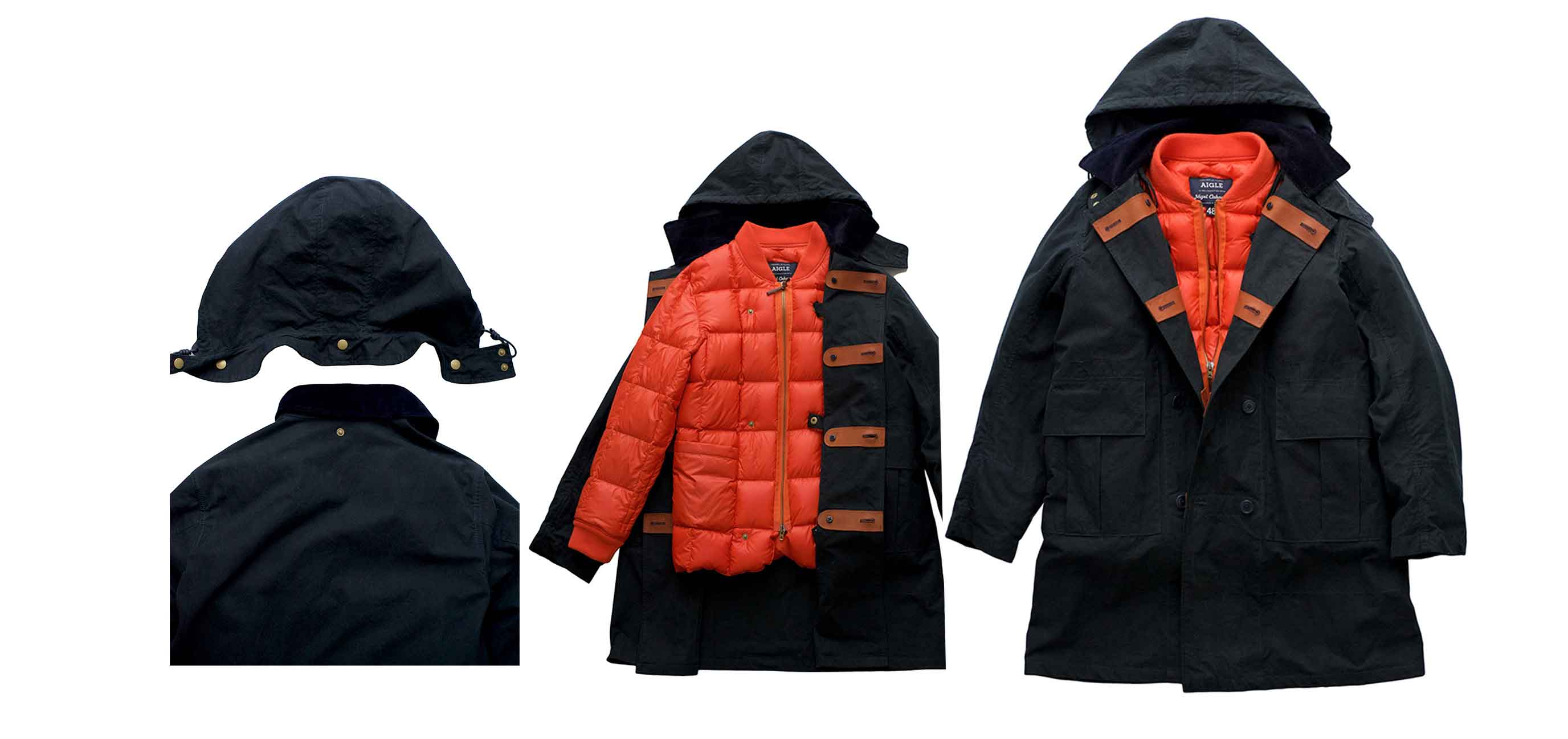 Nigel Cabourn × AIGLE - DOWN FILLED PARKA - NAVY