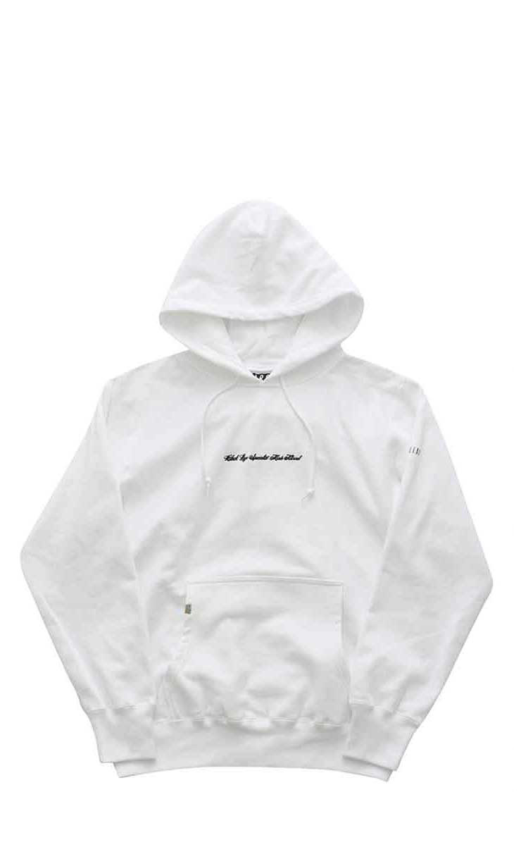 "BILLBOARD - HOODED SWEAT ""BLACK EYE SPECIALIST MADE NATURAL"" - WHITE"