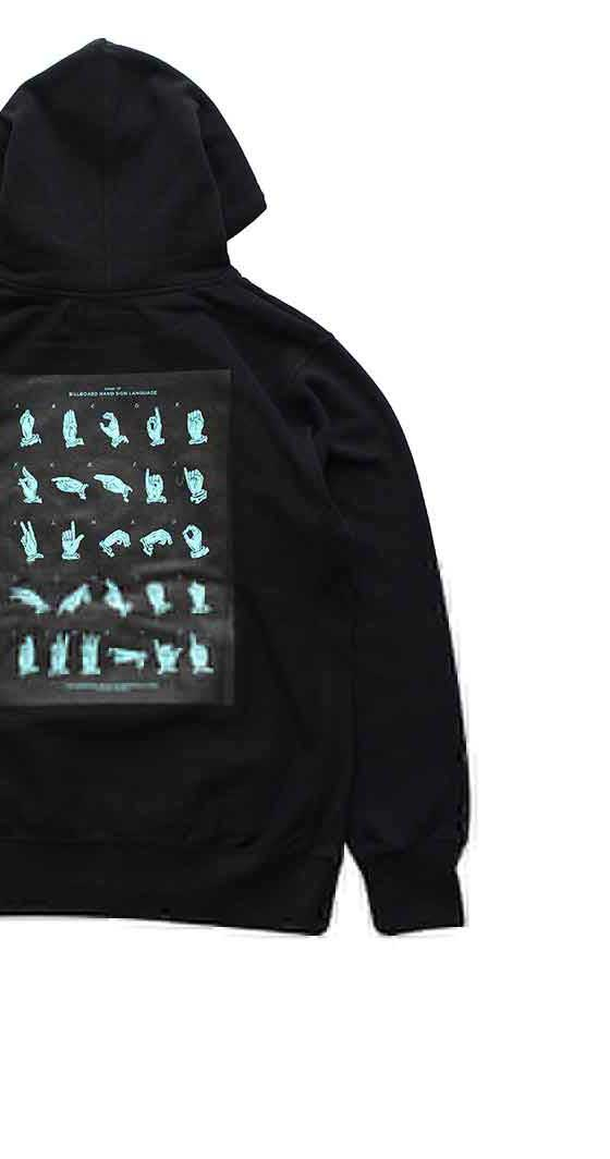 "BILLBOARD - HOODED SWEAT ""HAND SIGN LANGUAGE"" - BLACK"