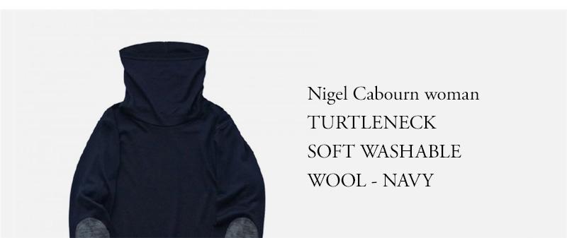 Nigel Cabourn woman  TURTLENECK  SOFT WASHABLE  WOOL - NAVY