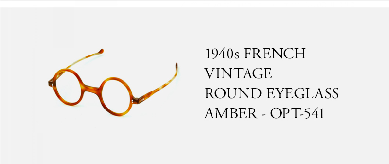 1940s FRENCH  VINTAGE  ROUND EYEGLASS AMBER - OPT-541
