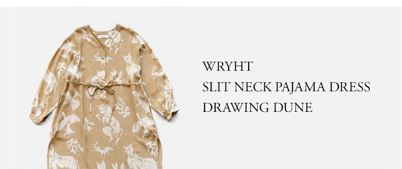 WRYHT - SLIT NECK PAJAMA DRESS - DRAWING DUNE