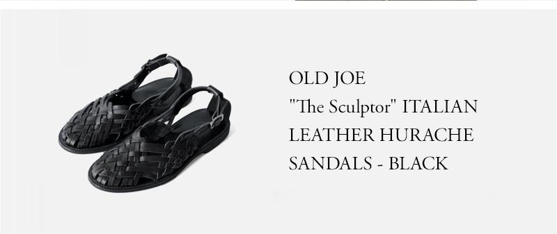 OLD JOE - The Sculptor ITALIAN LEATHER HURACHE SANDALS - BLACK