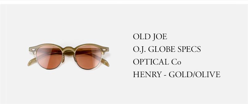 OLD JOE - O.J. GLOBE SPECS OPTICAL Co - HENRY - GOLD/OLIVE