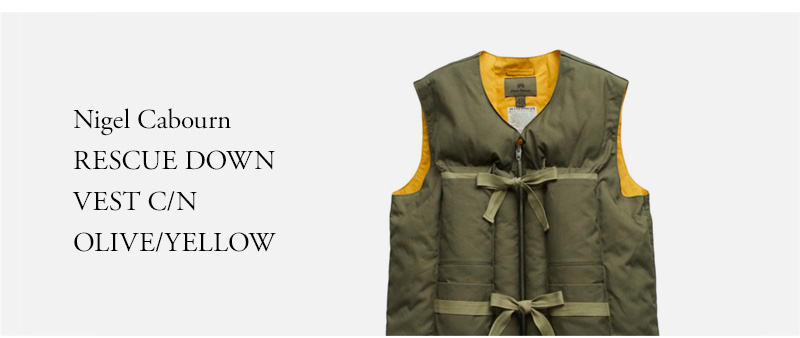 Nigel Cabourn RESCUE DOWN  VEST C/N  OLIVE/YELLOW