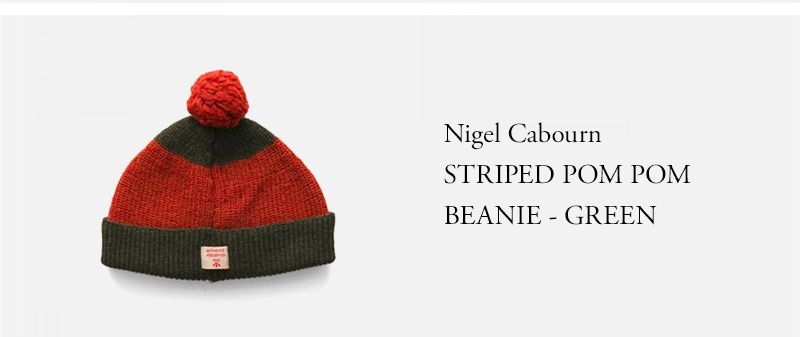 Nigel Cabourn STRIPED POM POM BEANIE - GREEN