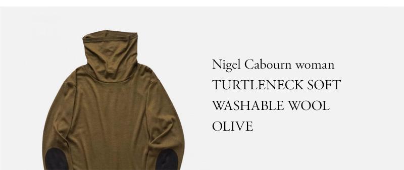 Nigel Cabourn woman - TURTLENECK SOFT WASHABLE WOOL - OLIVE