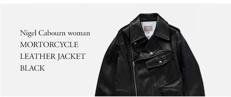 Nigel Cabourn woman - MORTORCYCLE LEATHER JACKET - BLACK