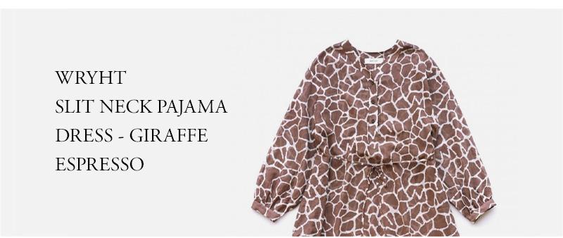 WRYHT - SLIT NECK PAJAMA DRESS - GIRAFFE ESPRESSO