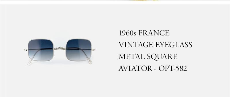 1960s FRANCE VINTAGE EYEGLASS METAL SQUARE AVIATOR - OPT-582