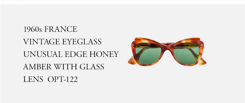 1960s FRANCE VINTAGE EYEGLASS UNUSUAL EDGE HONEY AMBER WITH GLASS LENS - OPT-122