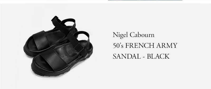 Nigel Cabourn - 50's FRENCH ARMY SANDAL - BLACK