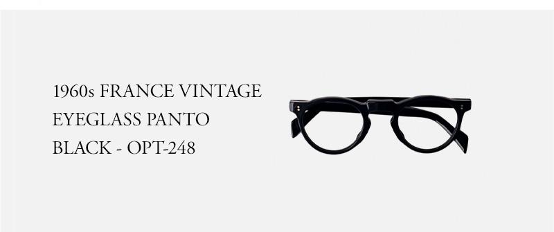 1960s FRANCE VINTAGE EYEGLASS PANTO BLACK - OPT-248