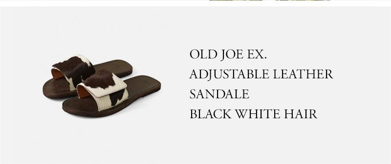 OLD JOE EX. ADJUSTABLE LEATHER SANDALE - BLACK WHITE HAIR