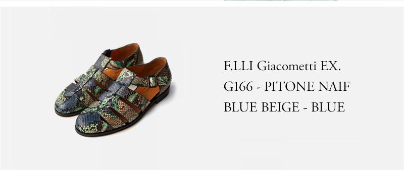 F.LLI Giacometti EX. G166 - PITONE NAIF BLUE BEIGE - BLUE