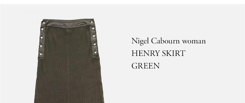 Nigel Cabourn woman - HENRY SKIRT - GREEN