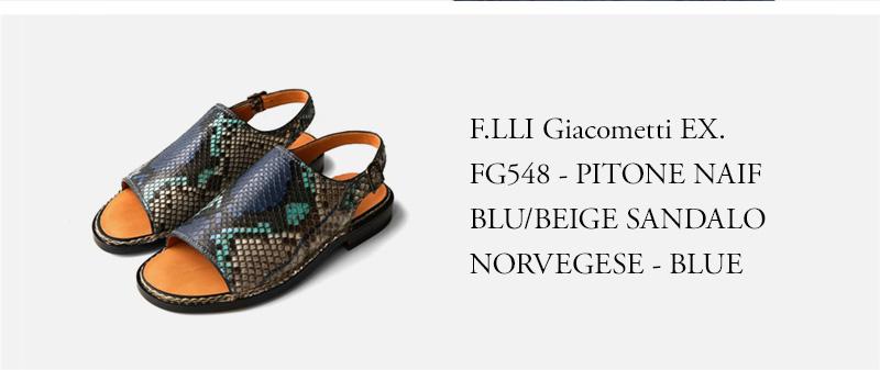 F.LLI Giacometti EX. - FG548 - PITONE NAIF BLU/BEIGE SANDALO NORVEGESE - BLUE