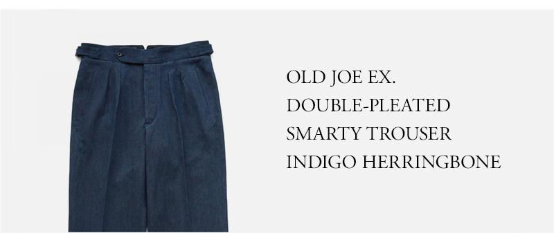 OLD JOE EX. DOUBLE-PLEATED SMARTY TROUSER - INDIGO HERRINGBONE