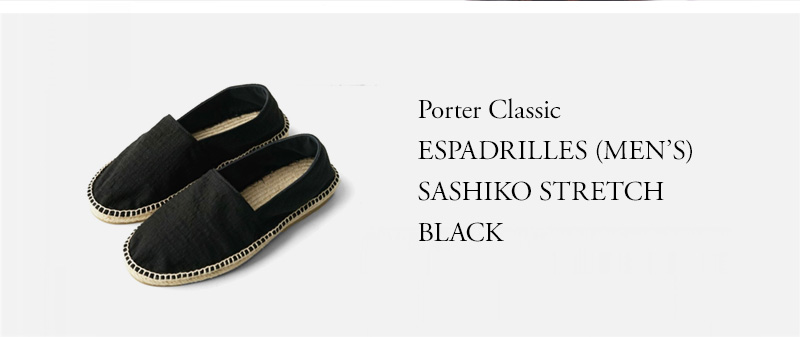 Porter Classic - ESPADRILLES (MEN'S) SASHIKO STRETCH - BLACK